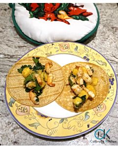 Shrimp and Mango Tacos with Baja Cabbage Slaw